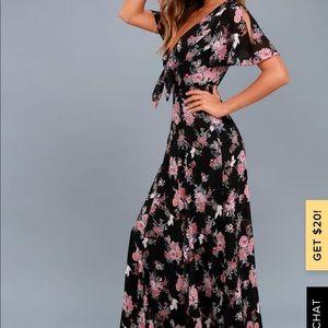 Black Floral Print Maxi Dress from Lulu's